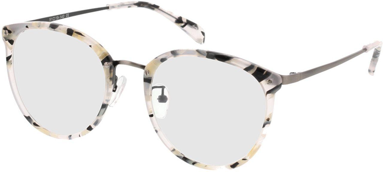 Picture of glasses model Charlotte-black-mottled-white-gun in angle 330