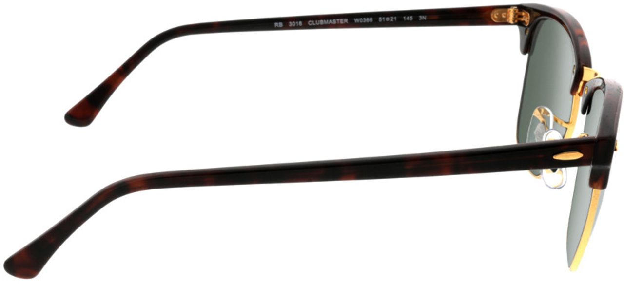 Picture of glasses model Ray-Ban Clubmaster RB3016 W0366 51-21 in angle 90