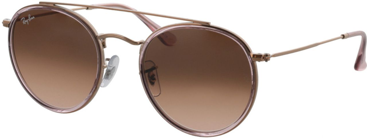 Picture of glasses model Ray-Ban Round Double Bridge RB3647N 9069A5 51-22 in angle 330