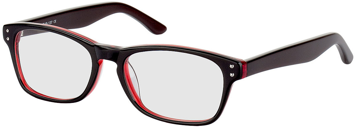 Picture of glasses model Nantes noir/transparent/rouge in angle 330