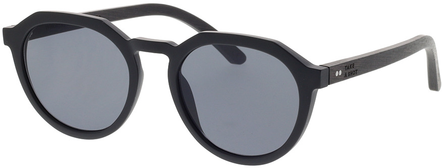 Picture of glasses model TAKE A SHOT Wilson: noir/noires Eichenholz 49-20 in angle 330