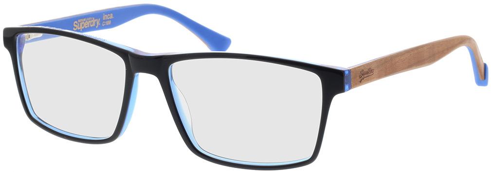 Picture of glasses model Superdry SDO Inca 189 preto/azul/castanho madeira 56-16 in angle 330