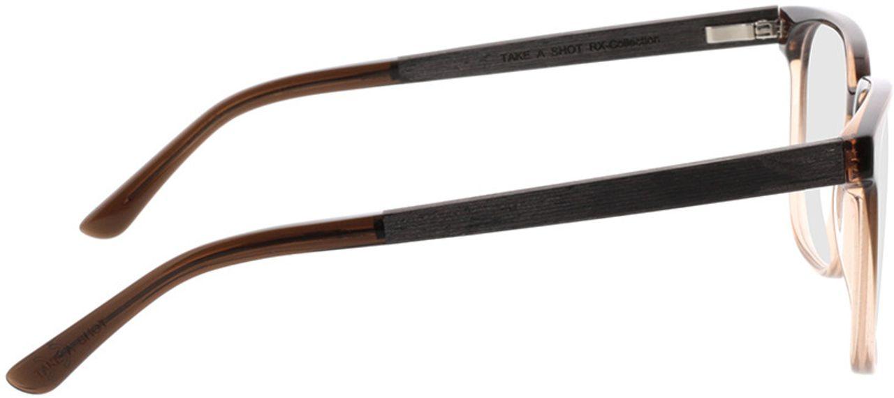 Picture of glasses model TAKE A SHOT Lenus Espresso Gradient RX: Schwarzes Eichenholz 54-19 in angle 90