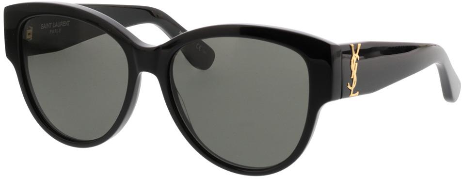 Picture of glasses model Saint Laurent SL M3 002 Zwart-Zwart-Grijs 55-16 in angle 330