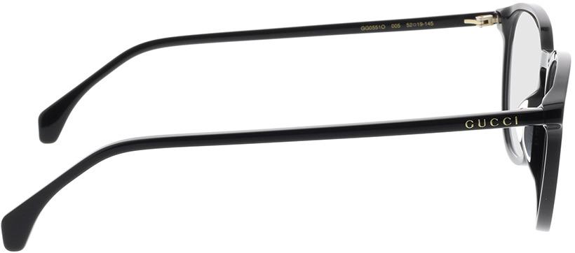 Picture of glasses model Gucci GG0551O-005 52-19 in angle 90