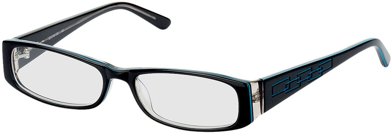 Picture of glasses model Florence-black-turquoise in angle 330