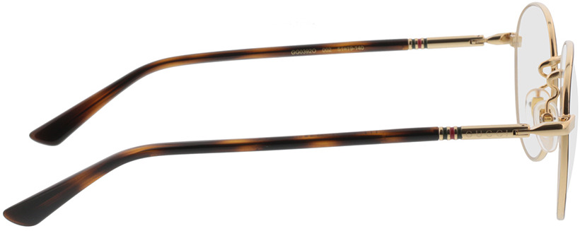 Picture of glasses model Gucci GG0392O-002 51-19 in angle 90