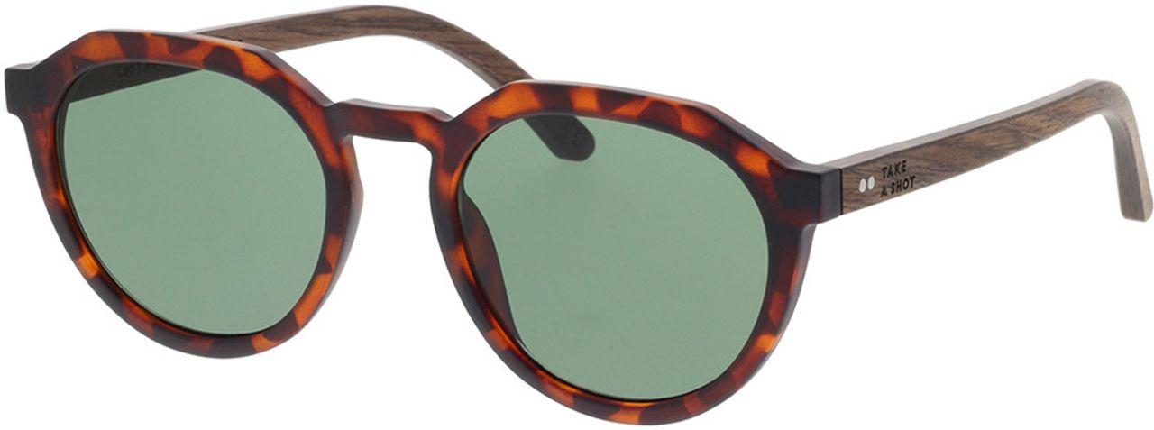Picture of glasses model TAKE A SHOT Leo: Havana/Walnussholz 49-20 in angle 330