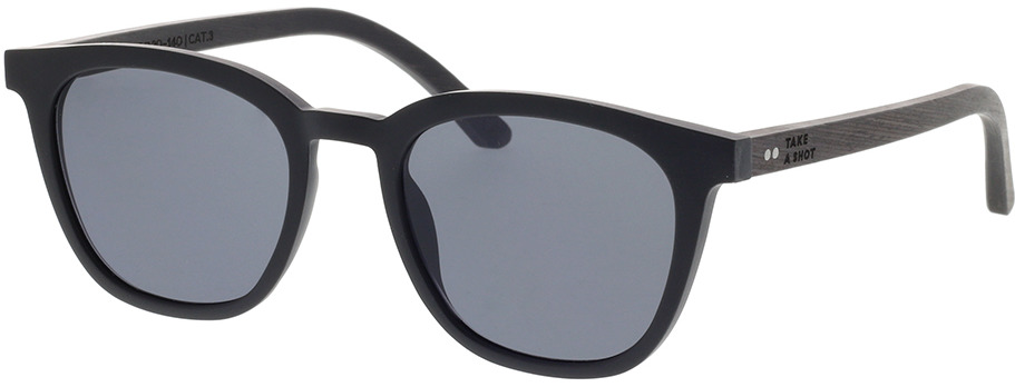 Picture of glasses model TAKE A SHOT Quentin: Schwarz/Schwarzes Eichenholz 49-20 in angle 330