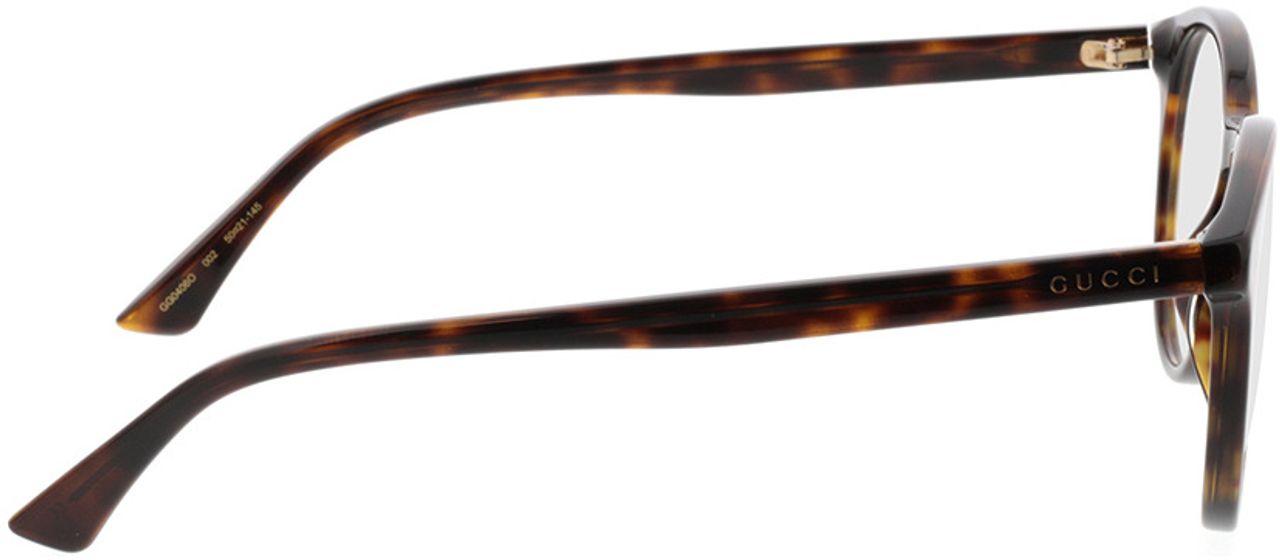 Picture of glasses model Gucci GG0406O-002 50-21 in angle 90