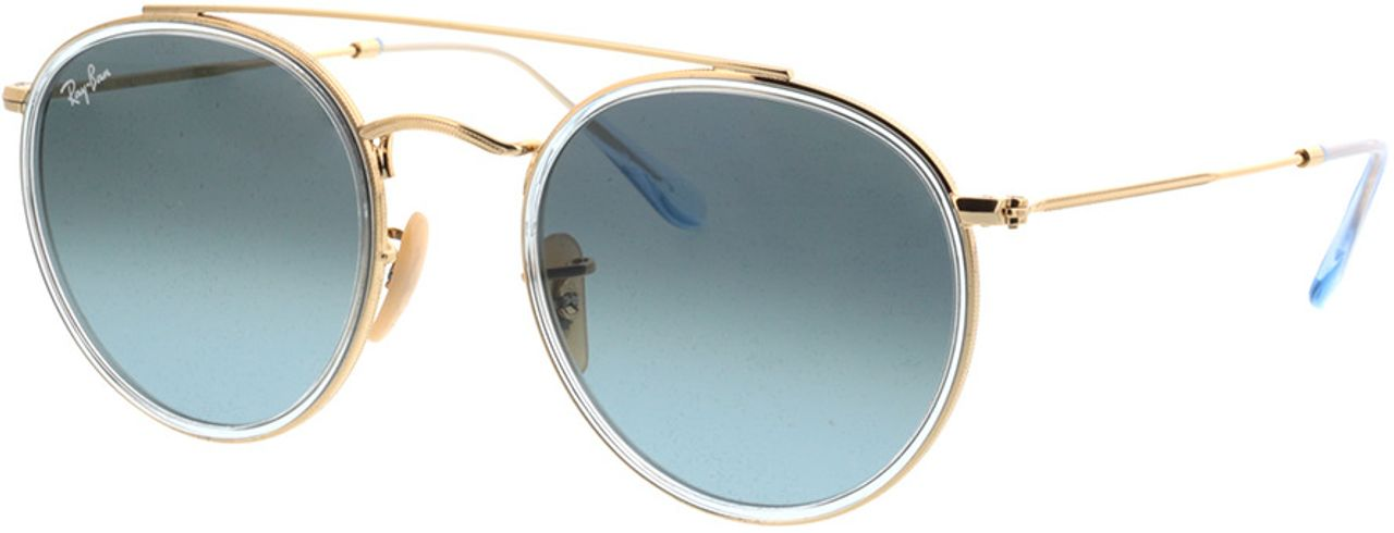 Picture of glasses model Ray-Ban Round Double Bridge RB3647N 91233M 51-22 in angle 330