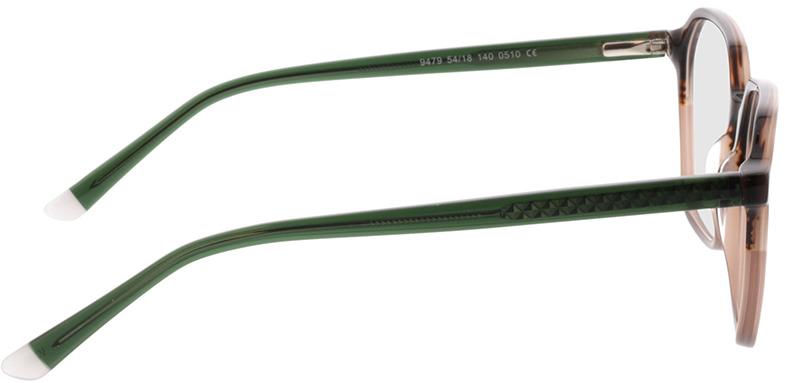 Picture of glasses model Fermo bruin cursus/groen in angle 90