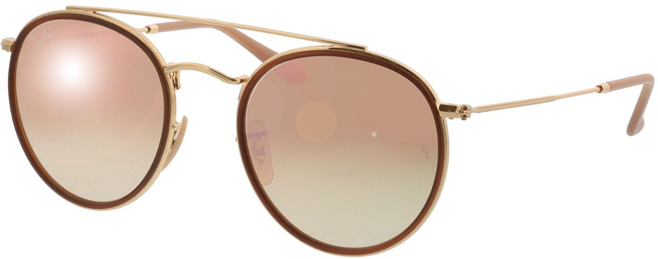 Picture of glasses model Ray-Ban Round Double Bridge RB3647N 001/7O 51-22 in angle 330
