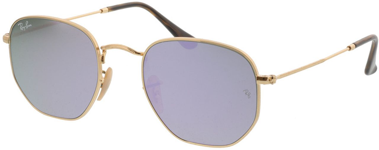 Picture of glasses model Ray-Ban Hexagonal Flat Lenses RB3548N 001/8O 51-21 in angle 330