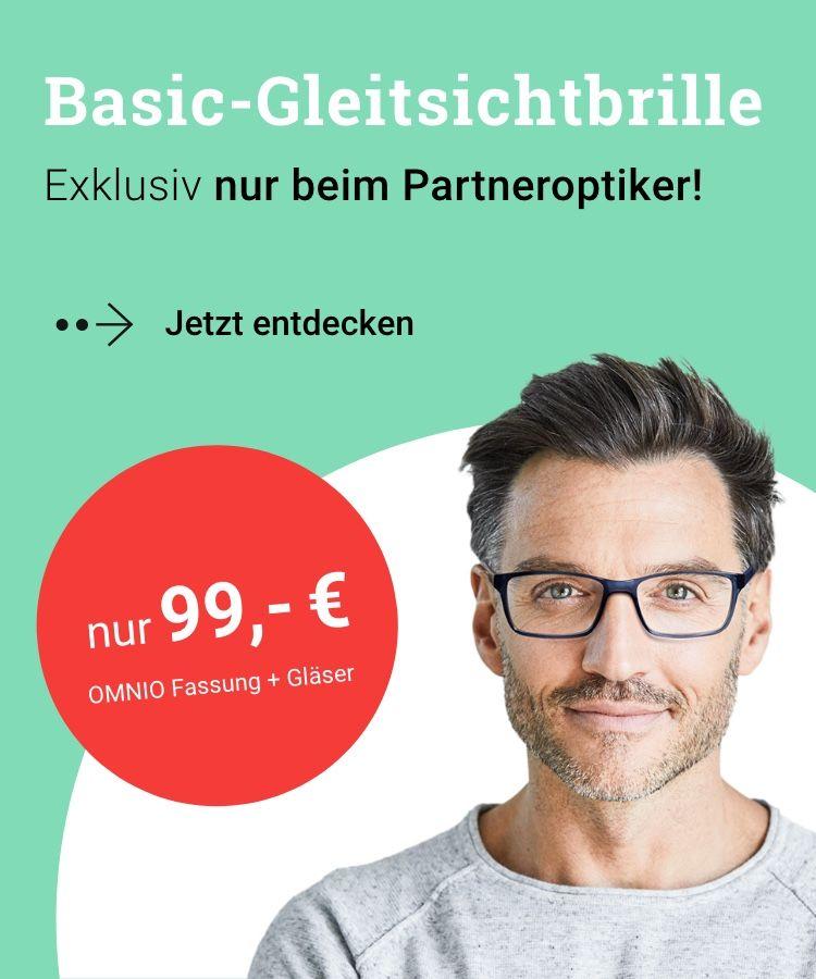 Basic-Gleitsichtbrille nur 99,90 € – Exklusiv beim Partneroptiker vor Ort